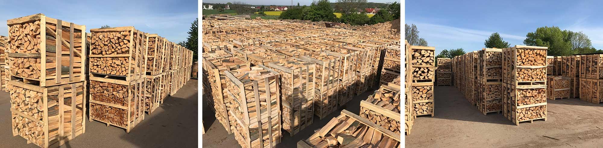 Palivové drevo ukladané do boxov